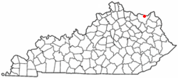 Location of Vanceburg, Kentucky