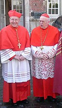 Cardinals Walter Kasper (left) and Godfried Danneels (right) wearing their choir dress: scarlet (red) cassock, white rochet trimmed with lace, scarlet mozetta, scarlet biretta (over the usual scarlet zucchetto), and pectoral cross on cord.