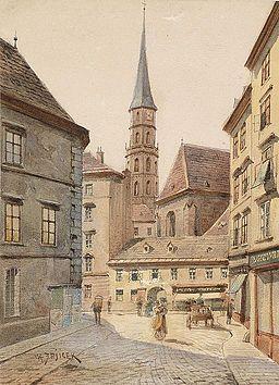 Karl Wenzel Zajicek Blick von der Stallburggasse zur Michaelerkirche