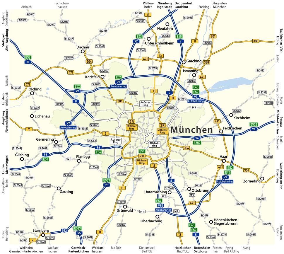 Karte Fernstraßen München