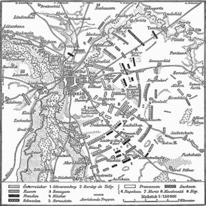 Karte Voelkerschlacht bei Leipzig 18 Oktober 1813