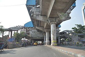 Kolkata Metro Line 2 - Karunamoyee  Metro Station Under Construction - 3rd Avenue, Salt Lake City, Kolkata