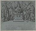 Keizer Karel V omgeven door zijn overwonnen tegenstanders Overwinningen van Karel V (serietitel) Divi Caroli. V. imp. opt. max. victoriae, ex multis praecipuae (serietitel), RP-P-1992-35.jpg