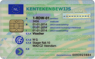 Vehicle registration plates of the Netherlands - Vehicle registration card