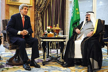 Abdullah in a meeting with US Secretary of State John Kerry, 5 January 2014 Kerry and Abdullah, 2014.jpg