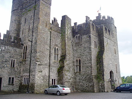 Kilkea Castle, Rokeby's Irish stronghold, where he died in 1356 or 1357. Kilkea Castle Castledermot Ireland.jpg