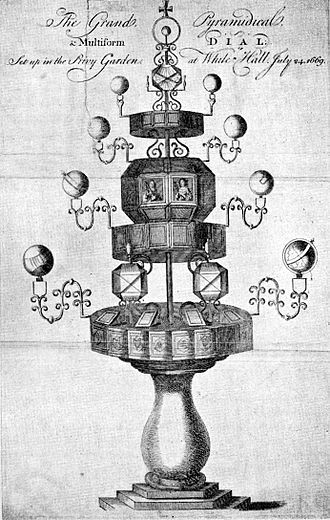 Privy Garden of the Palace of Whitehall - Charles II's sundial, installed in the Privy Garden in 1669