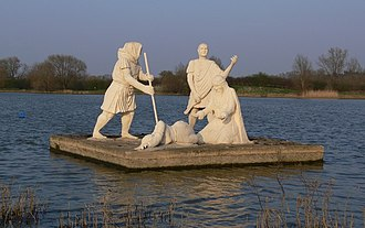 Watermead Country Park - Statue depicting a scene from King Lear on King Lear's Lake