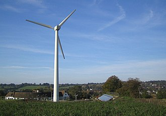 The wind turbine overlooking the former Ovaltine Model Dairy Farm, now the offices of Renewable Energy Systems Ltd. Kings Langley, Wind turbine - geograph.org.uk - 272851.jpg