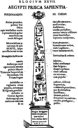 "Oedipus Aegyptiacus - Kircher's fanciful method of translation is displayed in this attempt to produce a panegyric to his patron Ferdinand III in Egyptian. In Kircher's reading, the Eye of Horus and a glyph depicting a chessboard (the syllable mn)  are interpreted as ""instrument of divine providence, eye of the political universe"". (divinae providentiae instrumentum, politici Universi oculus)"