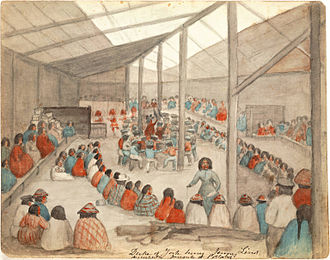 Potlatch - Watercolor by James G. Swan depicting the Klallam people of chief Chetzemoka at Port Townsend, with one of Chetzemoka's wives distributing potlatch