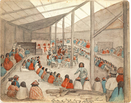 Watercolor by James G. Swan depicting the Klallam people of chief Chetzemoka at Port Townsend, with one of Chetzemoka's wives distributing potlatch Klallam people at Port Townsend.jpg