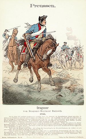 Der Hohenfriedberger - Dragoons of Dragoner-Regiment Nr. 5 (Ansbach-Dragoner) depicted by Richard Knötel.