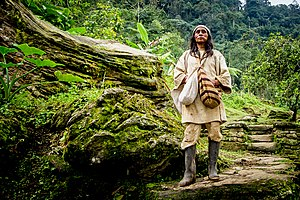 Kogi people - A portrait of a Koguis shaman at Ciudad Perdida, Colombia.