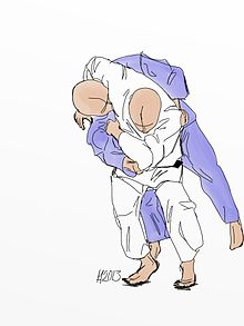 Illustration of the judo throw Koshi-guruma.