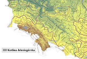 Jelenia Góra Valley - Jelenia Góra valley within the geomorphological division of Poland