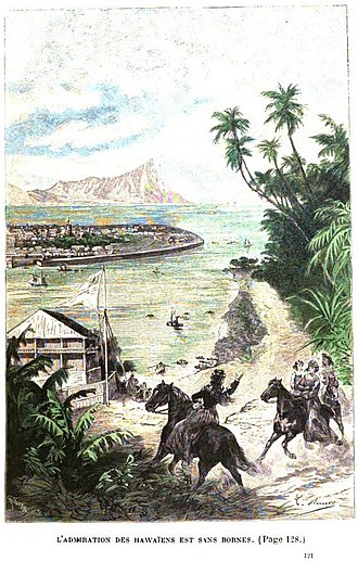 Propeller Island - Léon Benett created about 80 engravings for the book. This one shows the man-made island approaching Hawaii.