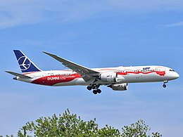 LOT Polish Airlines Boeing 787-9 Dreamliner SP-LSC (Proud of Polish Independence Polish side) approaching JFK Airport.jpg