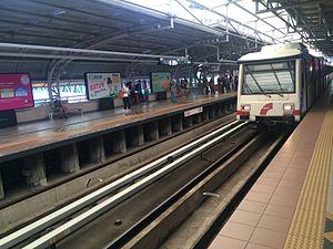 Masjid Jamek LRT station - Image: LRT train at Masjid Jamek