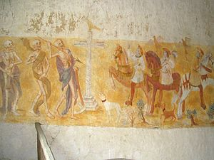 The Three Dead Kings - A French church wall painting depicting the Three Living and the Three Dead, from the Église Saint-Germain de La Ferté-Loupière