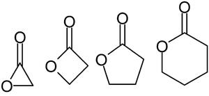 Lactone - Lactone nomenclature: α-acetolactone, β-propiolactone, γ-butyrolactone, and δ-valerolactone
