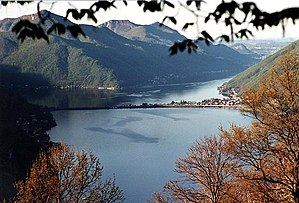 Lake Lugano - Lake Lugano with the Melide causeway