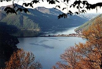 Lake Lugano - Lake Lugano with the Melide causeway