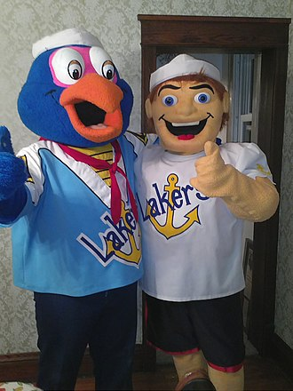 Lake Superior State University - Left-Seamore the Sea Duck Right- Foghorn the sailor as of October 31, 2011