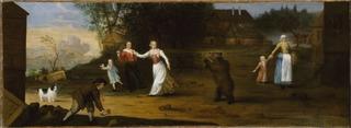 Landskap med dansande björn