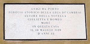 Luigi Da Porto - Commemorative stone, Contrà Porti, Vicenza