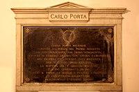 Lapide funeraria di Carlo Porta, originariamente al cimitero di San Gregorio, Milano.jpg