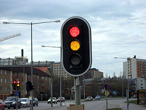 Red, yellow and green (unlit) LEDs used in a t...