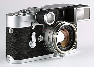 """Leica M3 - """"Leica goggles"""" of a 35mm lens. They adapt the 50mm base viewfinder to the viewfield of the 35mm."""