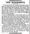 Les étudiants - La Presse - 8 novembre 1900 - page 3, 1ère colonne.jpg