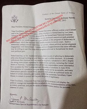 James P. McAnulty - Image: Letter, leaked to press, from James P. Mc Anulty, U.S. Special Representative to Somalia, to somalia President Silanyo