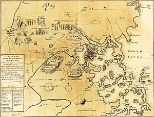 Battle of Bunker Hill - 1775 map of the Boston area (contains some inaccuracies)