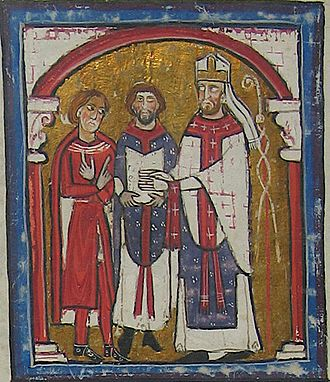 Wifred II, Count of Cerdanya - Saint Ermengol bishop of Urgell (right), swears loyalty to Wifred II, Count of Cerdanya (left); a priest holds the holy Scriptures (middle).
