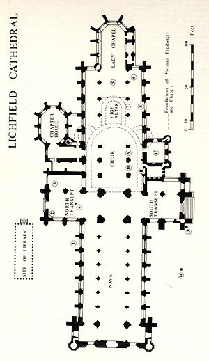 Lichfield Cathedral - Ground plan of the cathedral