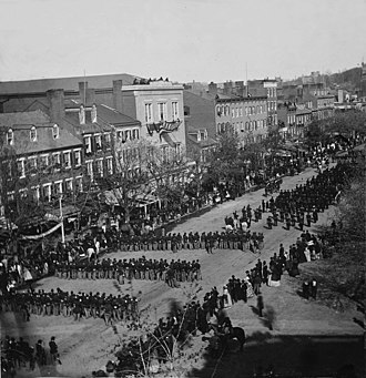Funeral and burial of Abraham Lincoln - Military units marching down Pennsylvania Avenue in Washington D.C. during the state funeral for Abraham Lincoln on April 19, 1865.