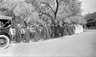 Graduation - Image: Line of young people at a commencement ceremony