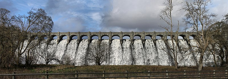Llyn Llanwddyn - Vyrnwy Dam, Powys, Wales built over a village to supply water to Liverpool 45.jpg
