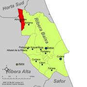 Localització d'Almussafes respecte de la Ribera Baixa.png