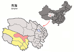 Location of Qumarlêb County (red) in Yushu Prefecture (yellow) and Qinghai