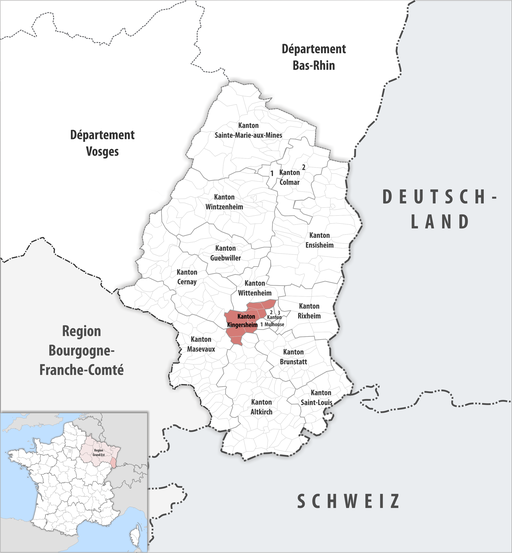 Locator map of Kanton Kingersheim
