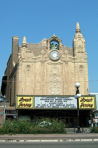 Loew's Jersey Theatre - Facade seen from across Journal Square July 1, 2006