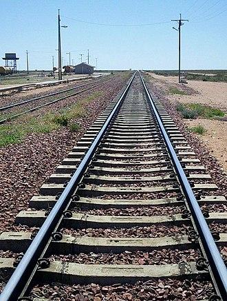 Rail transport in Australia - Looking along the Trans-Australian Railway