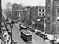 Looking north along Broadway at its east side past 2nd St. Hall of Record, L.A. Times, Chamber of Commerce Bldg., 2nd St. Victor Clothing in Crocker Bldg., Pig 'n Whistle in Copp Bldg., 1888 City Hall at far right.jpg