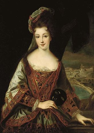 Louise Hippolyte, Princess of Monaco - Image: Louise Hippolyte Grimaldi with a view overlooking Monaco from the studio of Jean Baptiste Santerre (1651 1717)