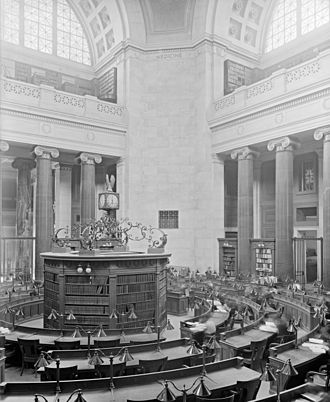 Low Memorial Library - Rotunda of Low Memorial Library, Columbia University, c. 1900–10.  The building was later converted to administrative use and the rotunda became a ceremonial space.