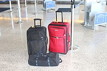 Luggage awaiting loading at airport IMG 3140.JPG